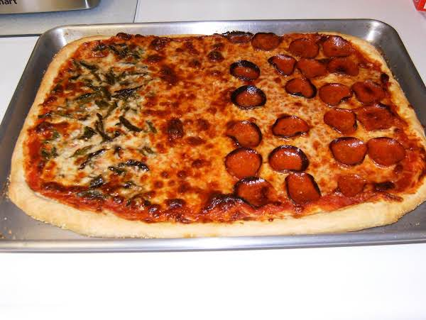 Homemade Pizza. Asparagus On The Left, Plain Cheese In The Middle And Pepperoni On The Right.  I Called It, The Italian Flag! I Used Mozzarella And Asiago Cheeses.