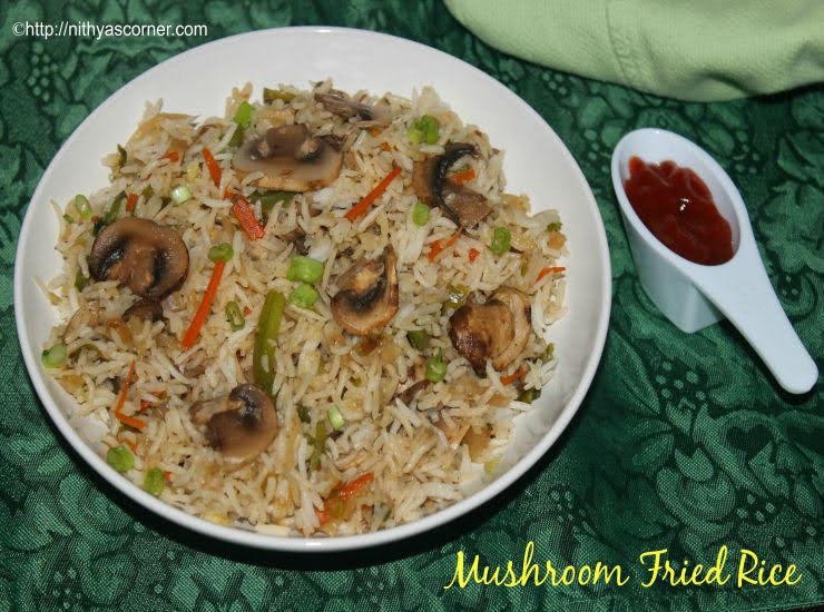 simple and easy Mushroom fried rice recipe