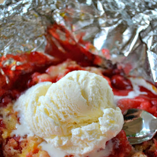 Easy Grilled Dessert Recipe- Cherry Cobbler on the Grill with Ice Cream.
