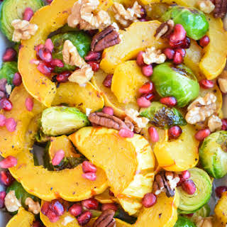 Roasted Delicata Squash and Brussels Sprouts.
