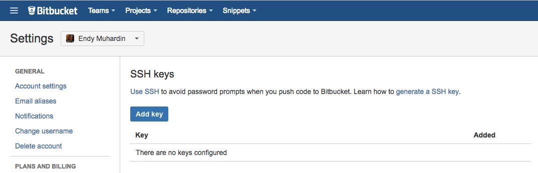 Daftar SSH Key Baru
