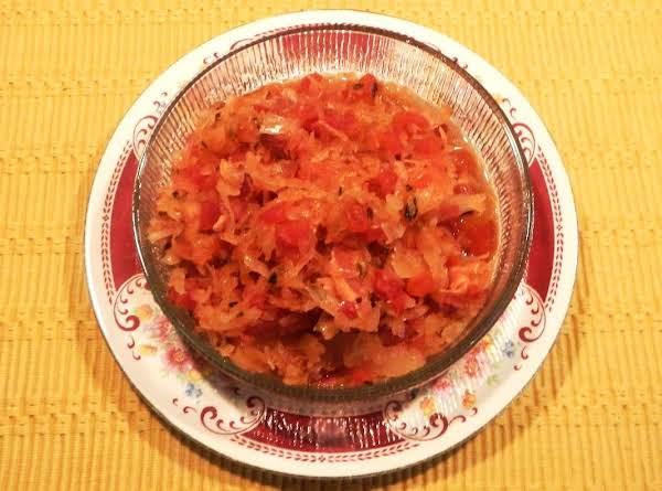 Saurekraut Tomato  Relish, Baked