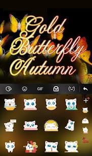 Gold Butterfly Autumn Keyboard Theme apk screenshot 4
