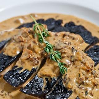 Grilled Portobello Mushroom in a Porcini Cream Sauce