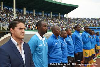 Photo: Coach McKinstry, Technical team and Subs during National Anthem. [Rwanda Vs Ghana AFCON2017 Qualifier, 5 Sep 2015 in Kigali, Rwanda.  Photo © Darren McKinstry 2015]