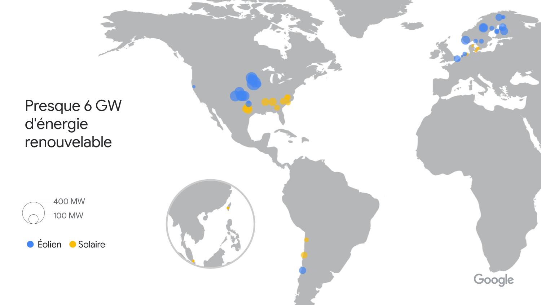 Carte mondiale de tous les achats d'énergie renouvelable réalisés par Google de 2010 à 2020, soit environ 6gigawatts d'énergie renouvelable injectés dans le réseau