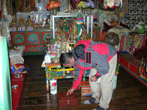 Photo: Anthony is giving his donation to a very remote monastery between Namche and Thame