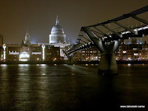 Photo: The Millennium Bridge and St Paul's by night