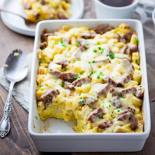 Apple Cheddar And Sausage Breakfast Strata.