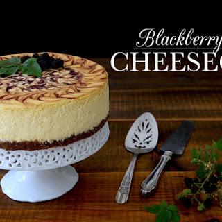 Blackberry Swirl Cheesecake with a Rye Pecan Crust.