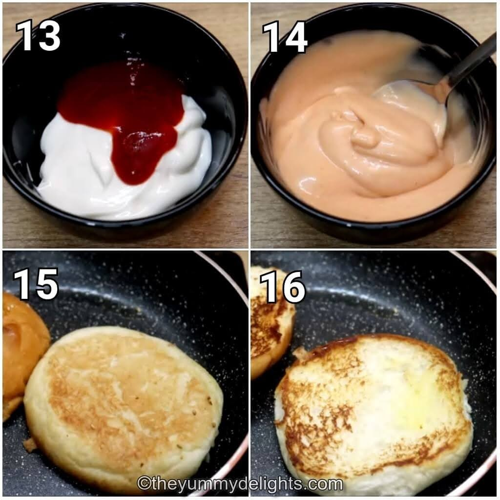 step by step image collage of preparing the mayo spread and toasting the bun to make grilled cajun chicken sandwich