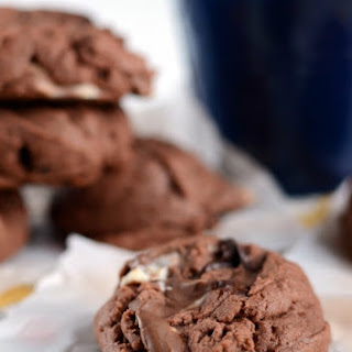 Chocolate Peanut Butter Marshmallow Pudding Cookies.
