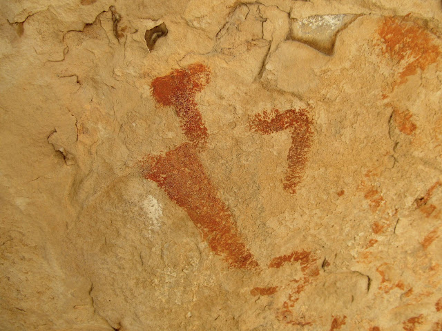 Human figure with faded black pigment