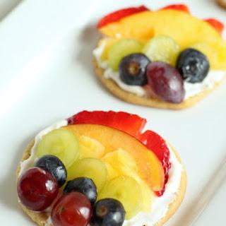 Mini Rainbow Fruit Cookie Pizza.