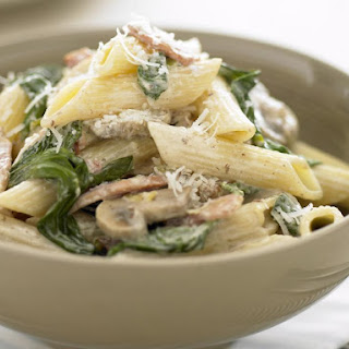 Penne with Spinach, Bacon and Mushrooms.