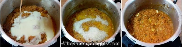 step by step collage of addition of condensed milk & sugar for making halwa