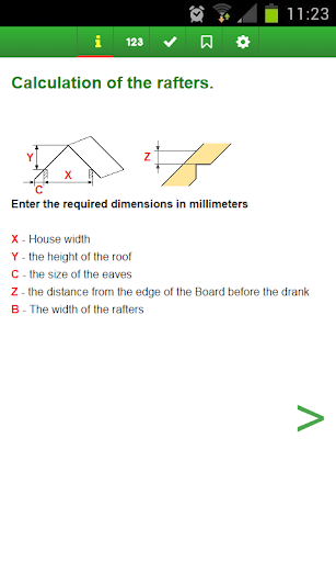 Calculation of the rafters