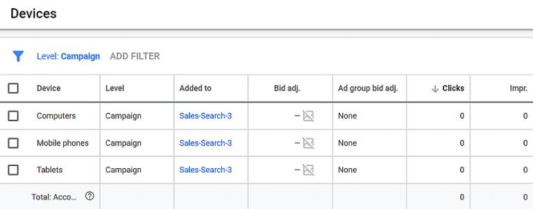 página de segmentação de audiência no google adwords