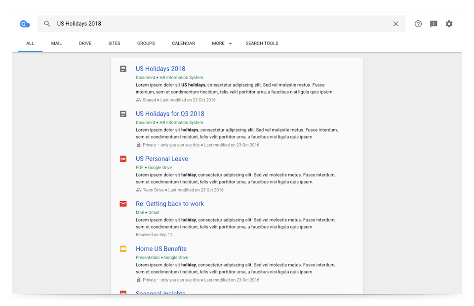 Cloud search browser view