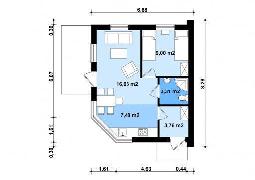 G266 - Budynek letniskowy - Rzut parteru