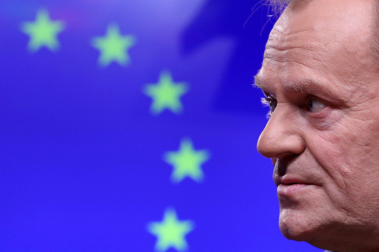 European council president Donald Tusk gives a statement after a meeting at the council headquarters in Brussels, Belgium, on February 6 2019. Picture: REUTERS/YVES HERMAN