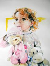 Photo: Petite fille aux doudous, Nounoursette et Popotame.
