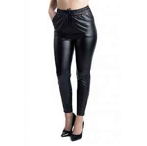 Pantaloni dama cu aspect de piele - Negru