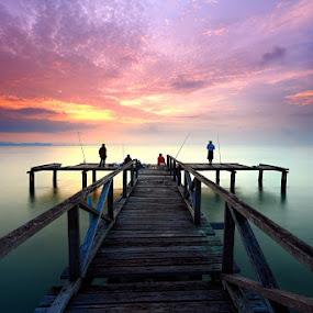 by Keris Tuah - Landscapes Sunsets & Sunrises ( water, fog, color, sunrise, bridge )