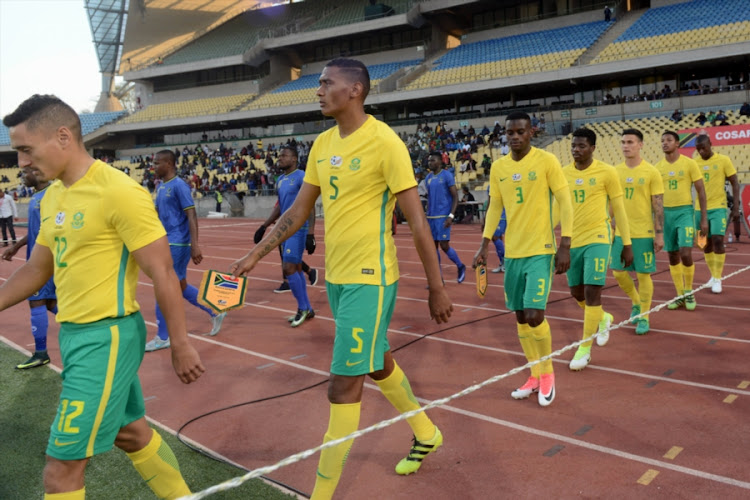 South Africa and Tanzania team during the COSAFA Cup quarter final match at Royal Bafokeng Stadium on July 02, 2017 in Rustenburg, South Africa.