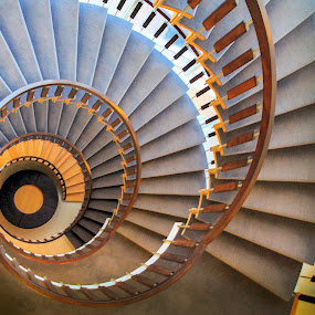 Spiral Stairs by Jeff McVoy - Buildings & Architecture Other Interior ( stairs, downward, circle, steps, down, spiral,  )
