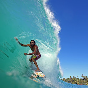 Somewhere in Sumatra by Paul Kennedy - Sports & Fitness Surfing ( tube ride, surfing, ocean, barrel, green room )