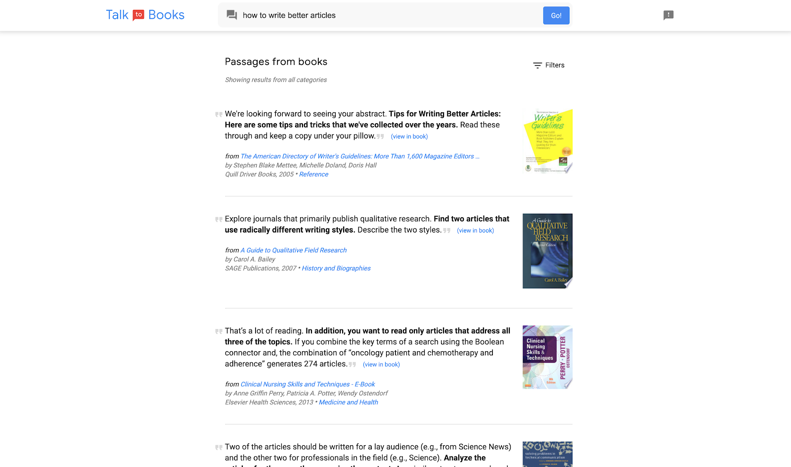 Screenshot of Talk to Books by Google