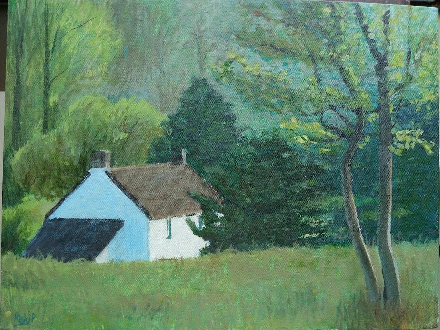 Acrylic on canvas - Farmhouse in Inglestone common