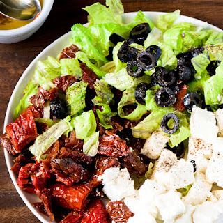 SUN DRIED TOMATOES SALAD WITH FETA CHEESE.