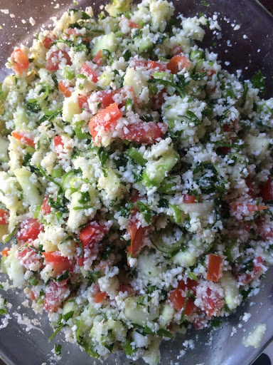 Alkaline Raw Vegan Cauliflower Tabouli