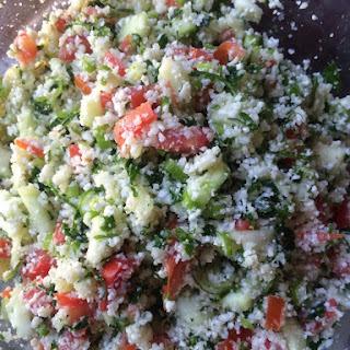Alkaline Raw Vegan Cauliflower Tabouli.