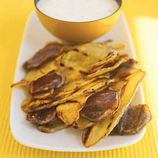Grilled Potato Chips With Chive Dip.
