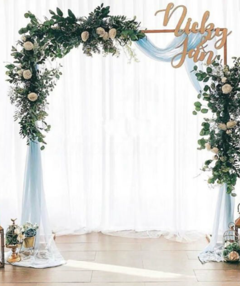 arch with wedding hashtag