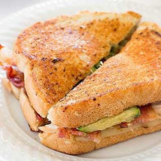 Spicy Chicken Bacon Avocado Grilled Cheese Sandwich.