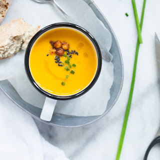 Kabocha Squash Soup with Harissa and Orange + Harissa Roasted Chickpeas