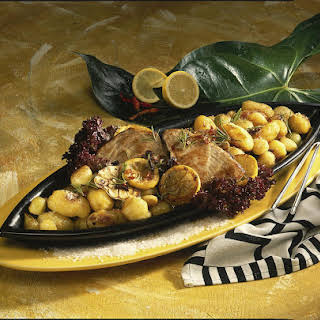 Pan-Seared Tuna Steaks with Roasted Potatoes.