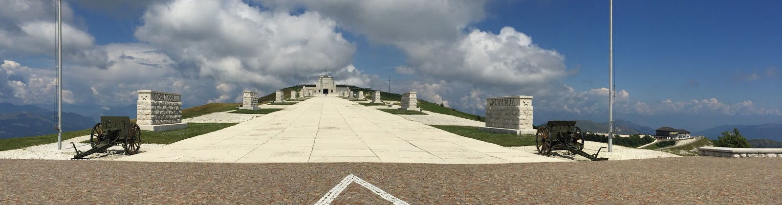 Cycling Monte Grappa from Possagno  - top of Sacrario del Monte Grappa, canons and walkway