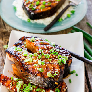 Maple Soy Grilled Salmon Steaks.