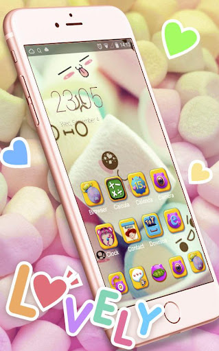 Cute Marshmallow cartoon Theme for android free 3.9.9 screenshots 2