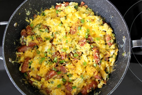 Add the eggs to the sauteed peppers, chives, and lil smokies, Cook eggs well....