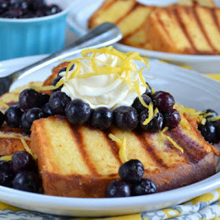 Grilled Pound Cake with Lemon Honey Whipped Cream and Blueberry Compote