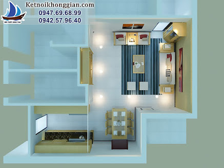 thiết kế chung cư nhà chị Hoa