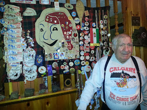 Photo: Albert and his collection of Carnival pins and other nick nacks