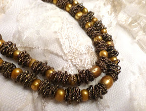 Photo: # 220  FW pearls, brass, gold plate $130  SOLD