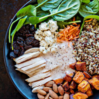 Winter Spinach Chicken Salad Quinoa Bowl with Creamy Almond Balsamic Dressing.